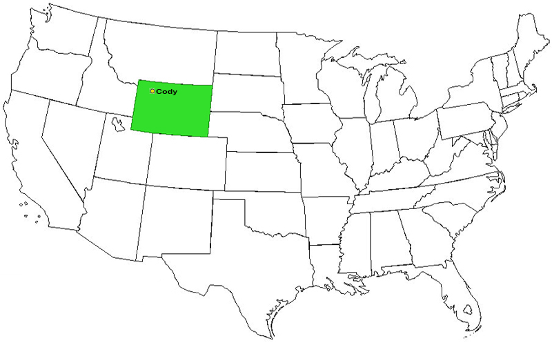 USA Map indicating the state of Wyoming